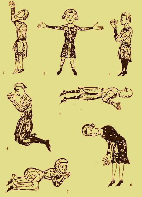 Illustrazione, contenuta nell'opuscolo di Pietro Cantore, che raffigura sette modi di pregare.